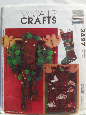 McCall's 3427 Moose Card Holder, Wreath and Stocking -  - Smiths Depot Sewing Pattern Superstore