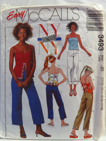 McCall's 3493 Junior's Lined Tops and Cropped Pants - JD (11/12-13/14-15/16-17/18) - Smiths Depot Sewing Pattern Superstore