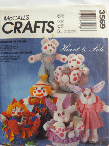 McCall's 3569 Stuffed Clown, Bunny and Bear Dolls, Clothes and Buckets -  - Smiths Depot Sewing Pattern Superstore