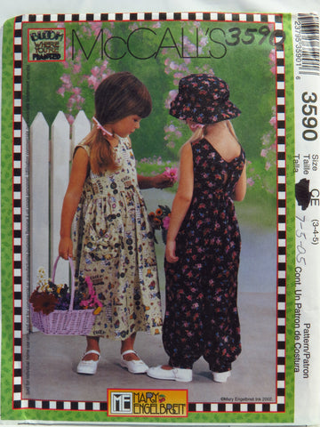 McCall's 3590 Children's and Girls' Dress, Jumpsuit and Hat - CE (3-4-5) - Smiths Depot Sewing Pattern Superstore