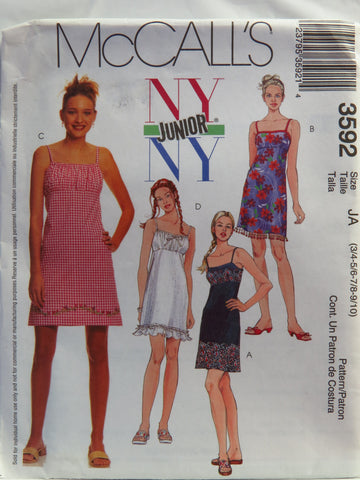 McCall's 3592 Junior's Dresses - JA (3/4-5/6-7/8-9/10) - Smiths Depot Sewing Pattern Superstore