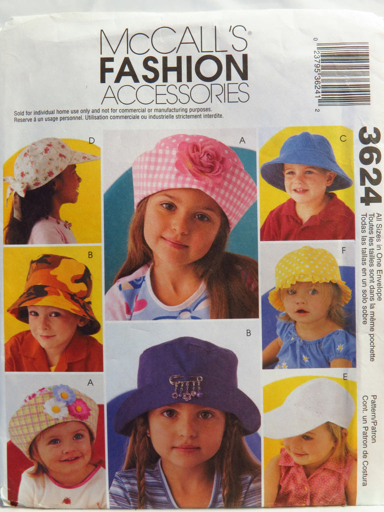 8e8333c8a23 McCall s 3624 Fashion Accessories - Hats – Smiths Depot Sewing Pattern  Superstore