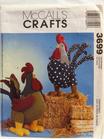 McCall's 3699 Rooster Dolls -  - Smiths Depot Sewing Pattern Superstore
