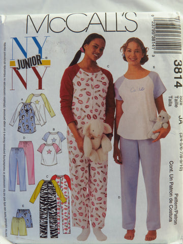 McCall's 3814 Junior's Nightgown, Top, Jumpsuit, Pants and Shorts - JA (3/4-5/6-7/8-9/10) - Smiths Depot Sewing Pattern Superstore