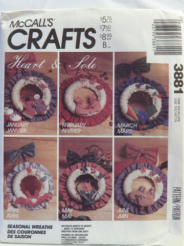McCall's 3881 Seasonal Wreaths -  - Smiths Depot Sewing Pattern Superstore
