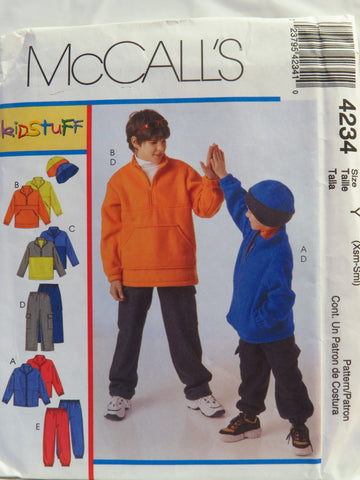 McCall's 4234 Children's/Boys' Jacket, Tops, Pants and Hat in Two Sizes - Y (XS-S) - Smiths Depot Sewing Pattern Superstore
