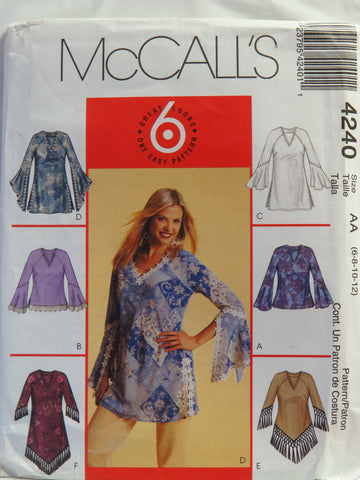 McCall's 4240 Misses'/Miss Petite Tops and Tunics - AA (6-8-10-12) - Smiths Depot Sewing Pattern Superstore