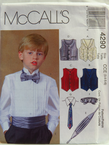 McCall's 4290 Boys' Lined Vests, Cummerbund, Bow Tie and Neck Tie - CCE (3-4-5-6) - Smiths Depot Sewing Pattern Superstore  - 1