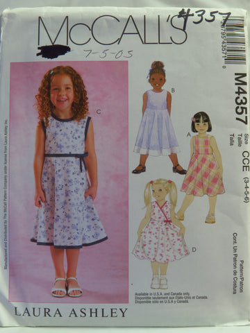 McCall's 4357 Children's and Girls' Dress - CCE (3-4-5-6) - Smiths Depot Sewing Pattern Superstore