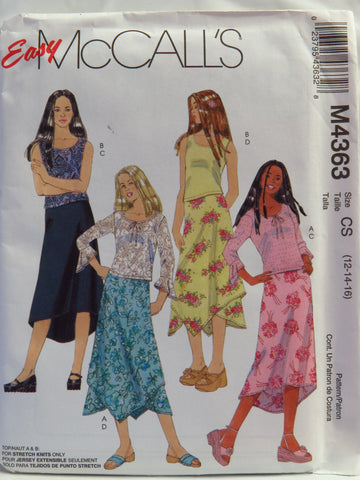 McCall's 4363 Girls' Tops and Lined Skirts in Two Lengths - CS (12-14-16) - Smiths Depot Sewing Pattern Superstore
