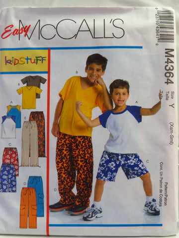 McCall's 4364 Children's and Boys' T-Shirts, Shorts in Two Lengths and Pants - Y (XS-S) - Smiths Depot Sewing Pattern Superstore
