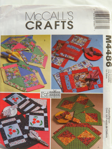 McCall's 4486 Fat Quarter Runners, Placemats and Napkins -  - Smiths Depot Sewing Pattern Superstore