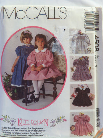 McCall's 4508 Children's and Girl's Smocking Dress and Transfer - Size 3 - Smiths Depot Sewing Pattern Superstore