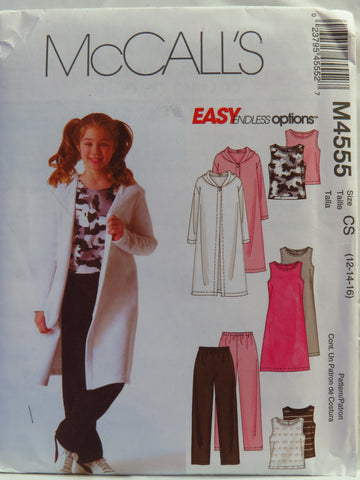 McCall's 4555 Girls' and Girls' Plus Sweatercoat, Dress, Top and Pants - CS (12-14-16) - Smiths Depot Sewing Pattern Superstore