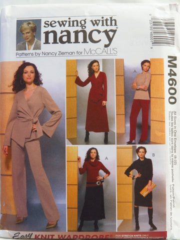 McCall's 4600 Misses' Unlined Jacket, Top, Dress, Cowl, Pants and Skirt -  - Smiths Depot Sewing Pattern Superstore