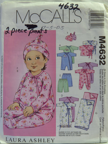 McCall's 4632 Infants' Unisex Jumpsuits, Top, Sack, Pants, Hat and Blanket -  - Smiths Depot Sewing Pattern Superstore