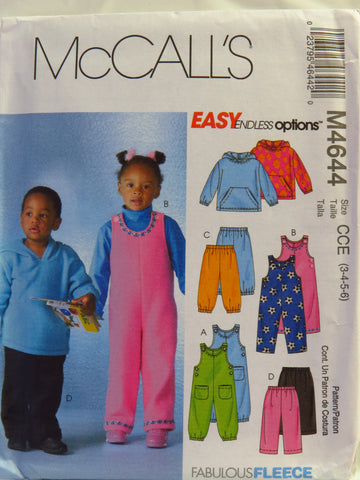 McCall's 4644 Toddlers' and Children's Unisex Top, Jumpsuits and Pants - CCE (3-4-5-6) - Smiths Depot Sewing Pattern Superstore