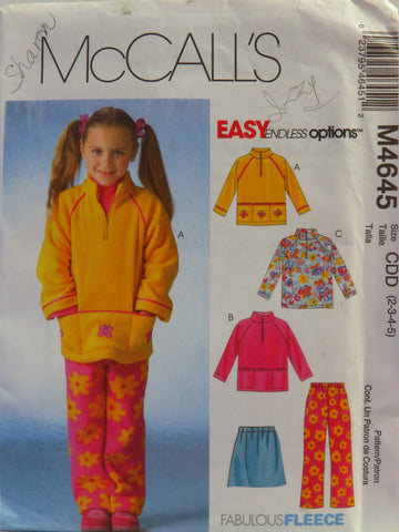 McCall's 4645 Children's and Girls' Tops, Skirt and Pants - CDD (2-3-4-5) - Smiths Depot Sewing Pattern Superstore