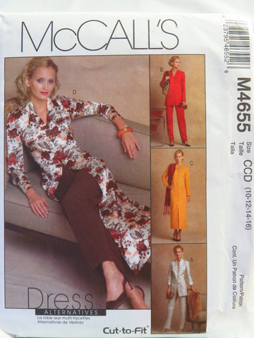 McCall's 4655 Misses'/Miss Petite Unlined Jackets, Dress, Duster and Pants - CCD (10-12-14-16) - Smiths Depot Sewing Pattern Superstore