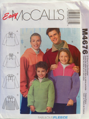 McCall's 4676 Unisex Tops -  - Smiths Depot Sewing Pattern Superstore