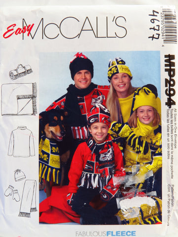 McCall's 0294 Unisex Tops, Scarf, Mittens, Hat and Roll Up Blanket -  - Smiths Depot Sewing Pattern Superstore