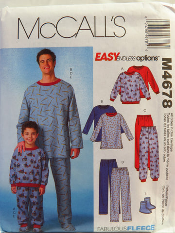 McCall's 4678 Men's/Boys' Top, Pants and Socks Sleepwear -  - Smiths Depot Sewing Pattern Superstore