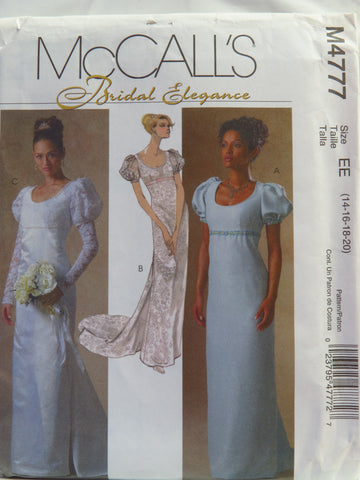 McCall's 4777 Misses'/Miss Petite Bridal Dress - EE (14-16-18-20) - Smiths Depot Sewing Pattern Superstore