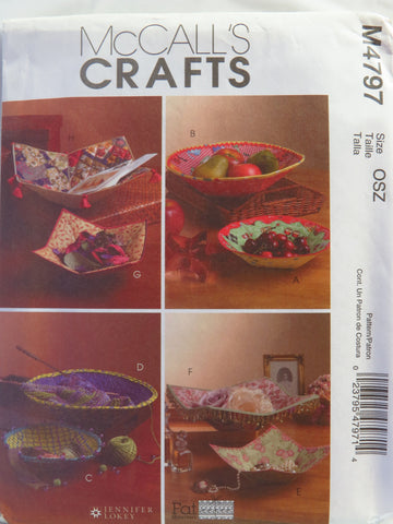 McCall's 4797 Fabric Bowls -  - Smiths Depot Sewing Pattern Superstore