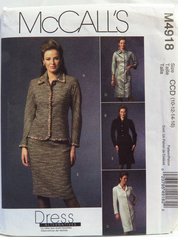 McCall's 4918 Misses'/Miss Petite Jacket, Dress and Skirt - CCD (10-12-14-16) - Smiths Depot Sewing Pattern Superstore