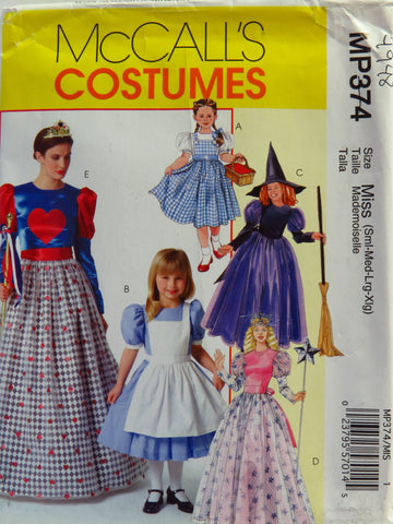 McCall's 0374 Misses'/Children's/Girls' Costumes - MISS (S-M-L-XL) - Smiths Depot Sewing Pattern Superstore