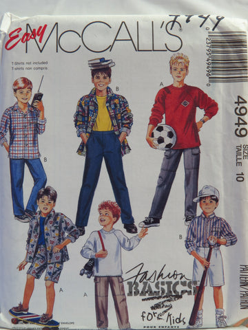 McCall's 4949 Children's/Boys' Shirt, Top, Pants and Shorts. Top Stretch Knit Only - Size 10 - Smiths Depot Sewing Pattern Superstore  - 1