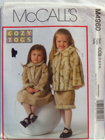 McCall's 4960 Toddlers' Jacket, Dress and Skirt - CCB (1-2-3-4) - Smiths Depot Sewing Pattern Superstore