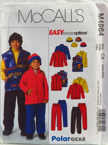 McCall's 4964 Children's/Boys' Jacket, Vest, Pull-On Pants and Reversible Hat - CX (3-4-5-6) - Smiths Depot Sewing Pattern Superstore