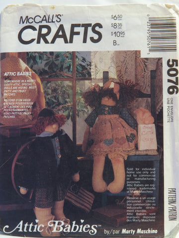 "McCall's 5076 Attic Babies™ 18"" Dolls and Clothes -  - Smiths Depot Sewing Pattern Superstore"