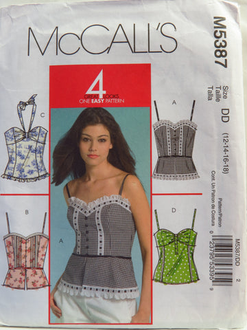 McCall's 5387 Misses Tops - DD (12-14-16-18) - Smiths Depot Sewing Pattern Superstore