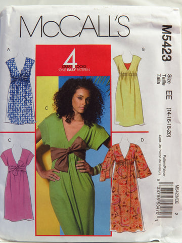 McCall's 5423 Misses' Dresses and Sash - EE (14-16-18-20) - Smiths Depot Sewing Pattern Superstore