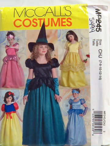 McCall's 0245 Children's and Girls' Princess and Witch Costumes - CHJ (7-8-10-12-14) - Smiths Depot Sewing Pattern Superstore