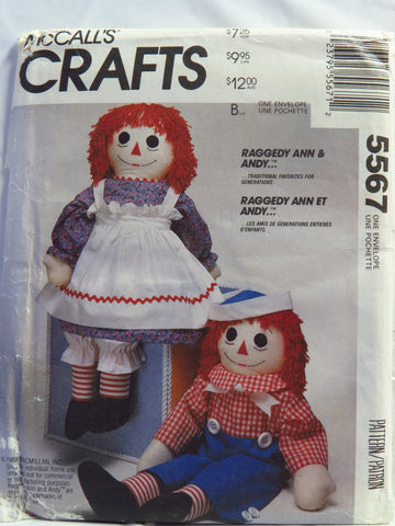 McCall\'s 5567 Stuffed Raggedy Ann & Andy™ Doll with Clothes, Child\'s ...