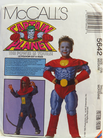 McCall's 5642 Children's and Boys Captain Planet™ Costumes - Med (7-8) - Smiths Depot Sewing Pattern Superstore