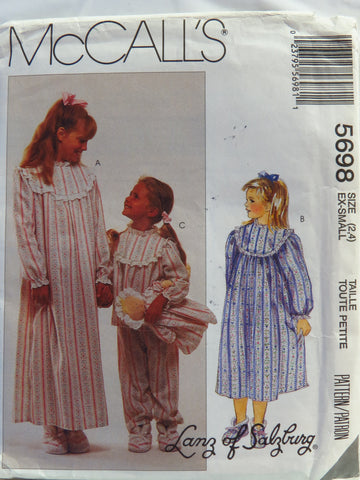 McCall's 5698 Children's and Girls' Sleepwear, Booties and Doll - Xsml (2-4) - Smiths Depot Sewing Pattern Superstore