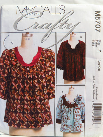McCall's 5707 Misses' Tops - Z (Lrg/16-18 Xlg/20-22) - Smiths Depot Sewing Pattern Superstore