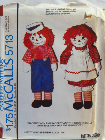 McCall's 5713 Raggedy Ann and Andy© Stuffed Dolls with Blue Transfer for Embroidery -  - Smiths Depot Sewing Pattern Superstore