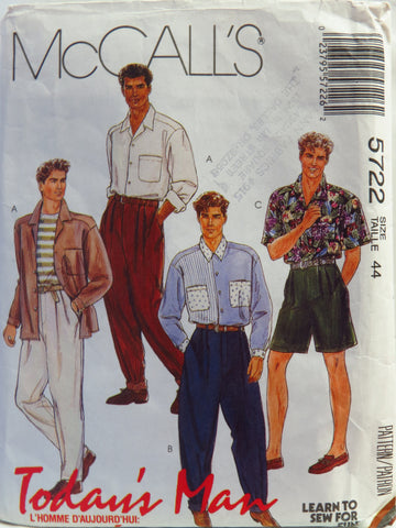 McCall's 5722 Men's Shirt and Pants or Shorts - 44 - Smiths Depot Sewing Pattern Superstore