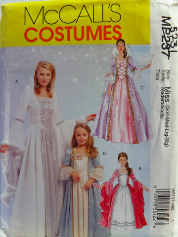 McCall's 0237 Misses' Children's and Girls Princess Costumes - Miss (8-10-12-14-16-18-20-22) - Smiths Depot Sewing Pattern Superstore