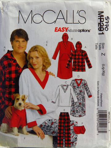 McCall's 0291 Misses', Men's and Teen Boys' Tops, Nightshirts, Pants and Top for Dog - Z (Lrg-Xlg) - Smiths Depot Sewing Pattern Superstore
