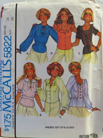 McCall's 5822 Misses' Set of Blouses - Miss (16) Bust (38) - Smiths Depot Sewing Pattern Superstore