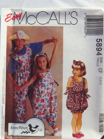 McCall's 5894 Children's and Girls' Jumpsuit in Two Lengths, Headband and Instructions for Sock Trim - CF (4-5-6) - Smiths Depot Sewing Pattern Superstore