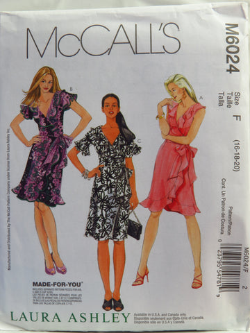 McCall's 6024 Misses' Dresses - F (16-18-20) - Smiths Depot Sewing Pattern Superstore