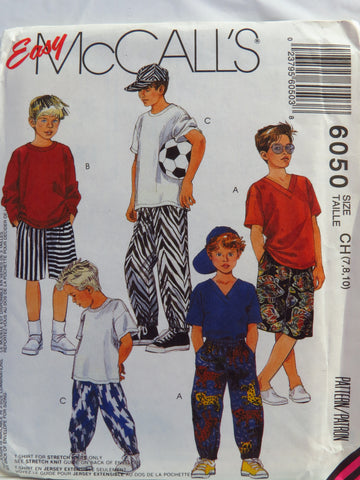 McCall's 6050 Children's/Boys' Shirt, T-Shirt, Pants or Shorts, and Hat - CH (7-8-10) - Smiths Depot Sewing Pattern Superstore
