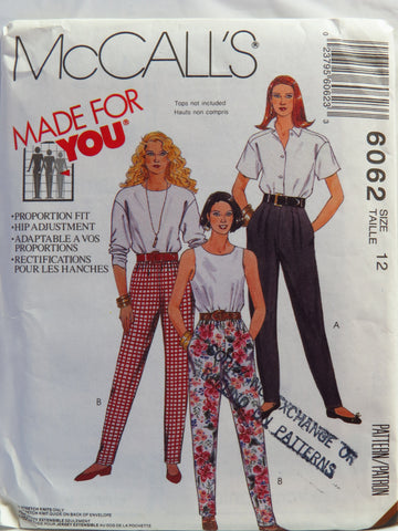 McCall's 6062 Misses' Pants for Stretch Knit Only - Size 12 - Smiths Depot Sewing Pattern Superstore